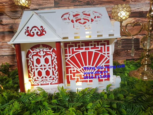Thùng tiền mừng cưới ngôi nhà 1 tầng màu trắng đỏ