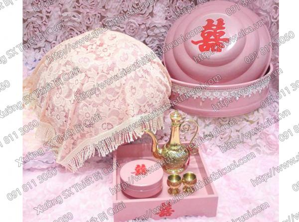 Mâm quả hồng phấn trang trí ren