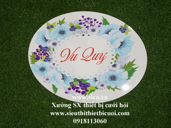 Bảng tên thiết kế chữ Vu Quy treo cổng hoa cứới  Ovan