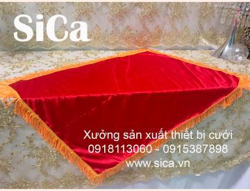 Bán khăn đỏ trùm khay trao quà sân khấu 75cm x 55cm