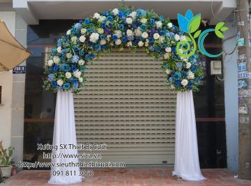 cổng đầu tròn kết hoa xanh cô ban