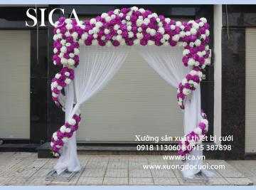 Mẫu cổng hoa đám cưới dạng xoắn giá rẻ