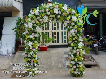 cổng tròn kết hoa xanh cốm
