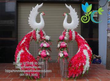Cổng chim công hoa lan hồng trắng