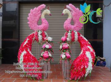 cổng chim công kết hoa lan hồng