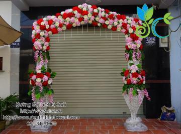 Cổng cưới tông đỏ hồng