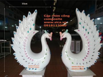 Phân phối cặp chim công nhựa trang trí cưới
