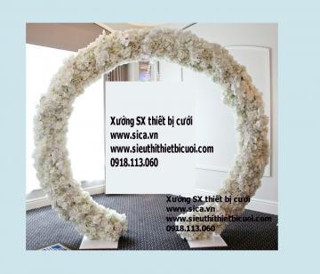 Cổng hoa cưới tròn làm backdrop mẫu mới